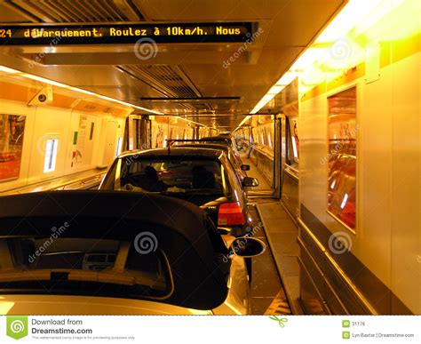 Inside the Channel Tunnel stock photo